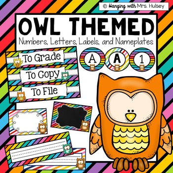 Editable Owls & Stripes (labels, numbers, letters, and nam
