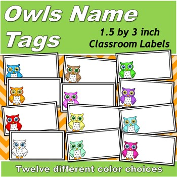 photograph about Printable Name Tags titled Owls Printable Reputation Tags (1.5 by means of 3 inches)