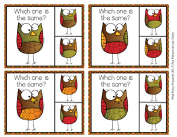 Owls Same or Different Clip Cards