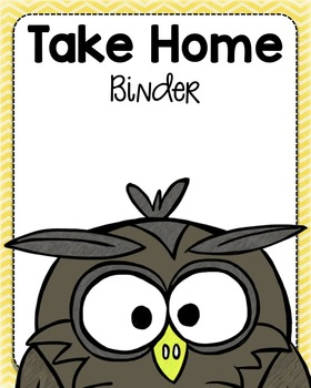 """Owls Take Home Binder Cover with 1.5"""" Spine Labels"""