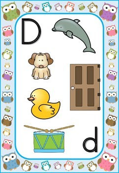 Owls Theme Blue Border Alphabet Letter Sounds Posters