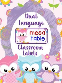 Owls Theme Dual language classroom labels