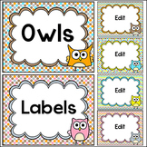 Owl Theme Labels