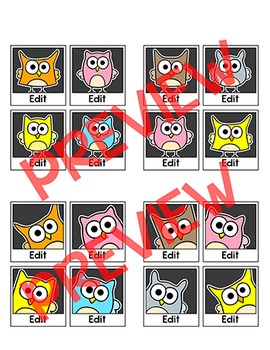 Owl Theme Name Tags and Locker Labels - Polaroid Selfies