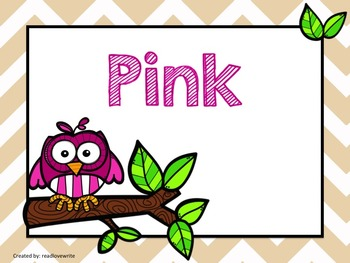 Owls Theme Table Labels Numbers and Colors
