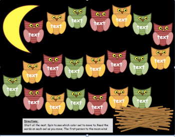 Owls Themed Game board: Editable! Great for sight words, shapes, vocabulary