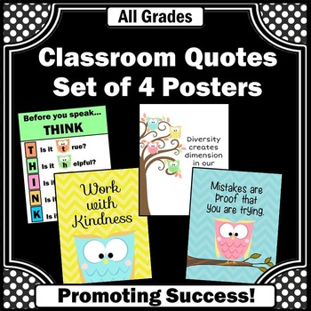 Owls Classroom Theme, Printable Classroom Posters, Motivational Quotes