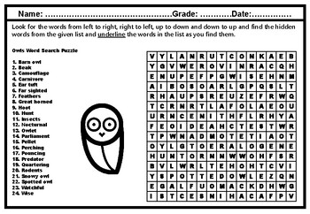 Owls Word Search Puzzle Worksheet