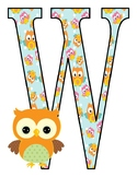 "Owls and Birds Welcome Banner letters 8""x10"" size"
