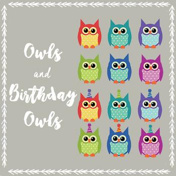 Owls and Birthday Owls clip art
