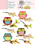 Owls and Branches Clipart