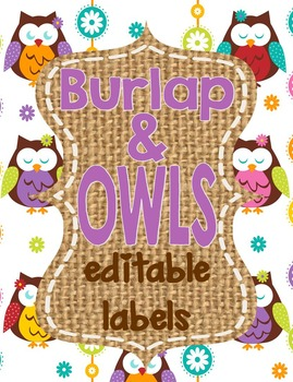Owls and Burlap Labels **editable**