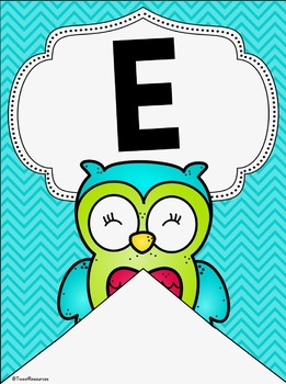 Alphabet Posters and Bunting in an Owls and Chevron Decor Theme
