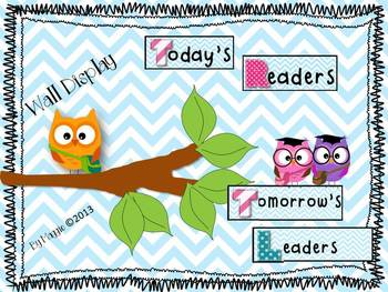 Owls and Chevron Bundle with Wall Display, Bus Tags, and Desk Plates