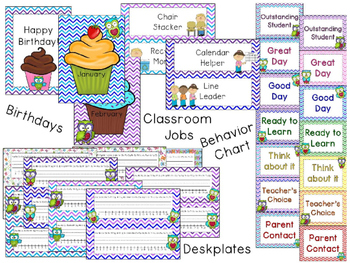Owls and Chevron Classroom Theme Decor - EDITABLE!