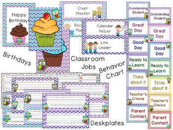 Owls and Chevron Classroom Theme Decor - EDITABLE!