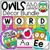 Owls & Chevron Classroom Theme Decor Bundle - Jobs, Labels, Rules & more!