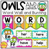 Word Wall Display in Owls and Chevron Theme with Editable Cards