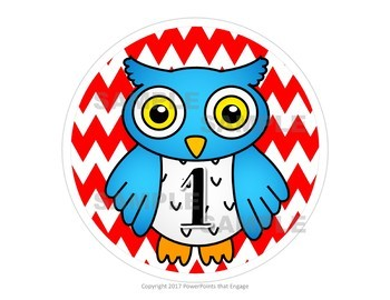 Owls and Chevrons Table Numbers