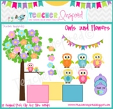 Owls and Flowers Clip Art Pack