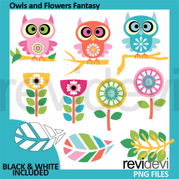 Owls and Flowers Fantasy clipart