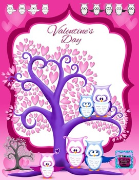 Valentine's Day Owls and Hearts Clipart