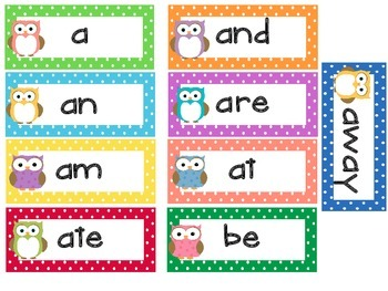 Kindergarten Dolche Word Wall Words- Small Owls and Polka Dot Themed