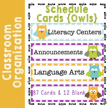 Daily Schedule Cards with Owls and Polka Dots EDITABLE