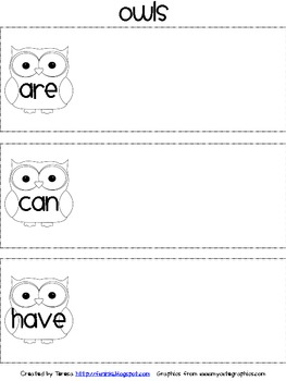 Owls are-can-have Beginning Writing Organizer