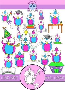 Owls at School Clip Art