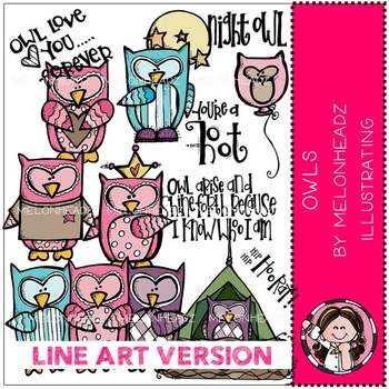 Owls by Melonheadz LINE ART