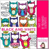 Owls clip art 2021 - BLACK AND WHITE - by Melonheadz Clipart