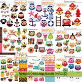 Owls clip art: Fantastic owls mega bundle (9 packs)