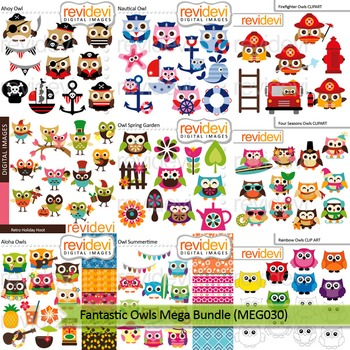 Owls clip art: Fantastic owls mega bundle (9 packs)
