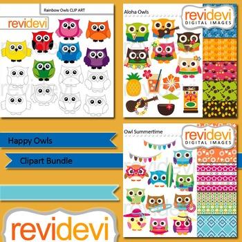 Owls clip art: Happy owls clipart bundle (3 packs)