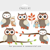 Owls clipart - whimsical owls, baby owls, birdies, branch, tree, sweet, woodland