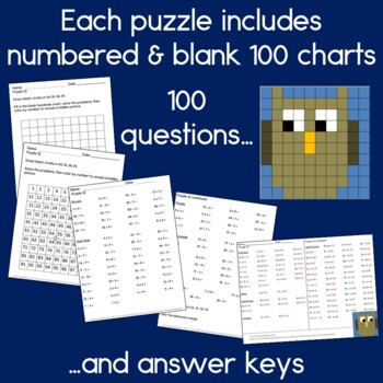 Owls hundreds charts with addition, subtraction and multiplication
