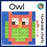 Owls hundreds charts mystery pictures with addition, subtraction, multiplication