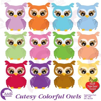 Owl Clipart, Multi-Colored Baby Owls, {Best Teacher Tools}  AMB-350