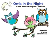Owls in the Night Clipart Collection