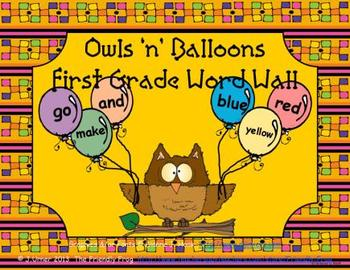 Owls 'n' Balloons First Grade Word Wall