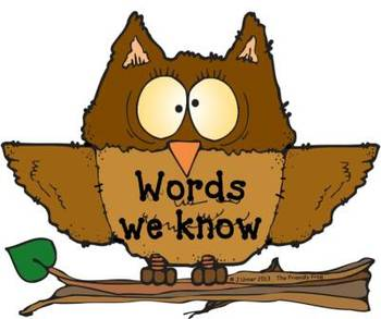 Owls 'n' Balloons Pre-Primer Word Wall