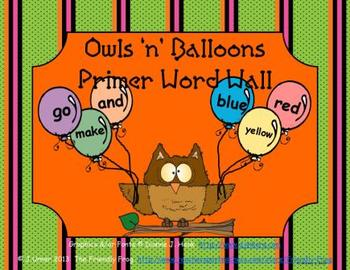Owls 'n' Balloons Primer Word Wall
