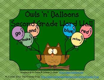 Owls 'n' Balloons Second Grade Word Wall