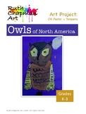Owls of North America in Tempera Art Lesson for Grades K-3