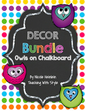 Owls on Chalkboard Decor