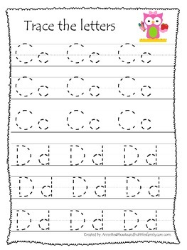 Owls themed A-Z tracing preschool educational worksheets.  Daycare alphabet.