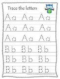Owls themed A-Z tracing preschool educational worksheets.