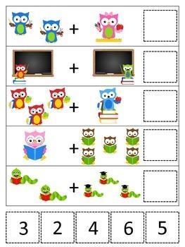 Owls themed Math Addition preschool printable game.  Daycare curriculum.