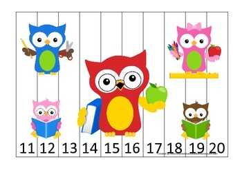 Owls themed Number Sequence Puzzle 11-20 preschool learning activity.